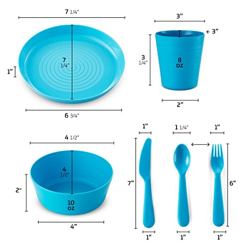 Plastic Dinnerware Set of 4 By Plaskidy - 24 piece Kids dishes Set Includes, Kids Cups, Kids Plates, Kids Bowls, Flatware Set, Kids dinnerware set is Reusable, Microwave - Dishwasher Safe, BPA Free. by PLASKIDY (Image #1)
