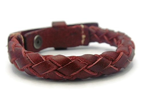 [APECTO Jewelry Quality Brown Leather Wristband Braided Cuff Bracelet Adjustable (Red), SR38] (Garnet Cosplay Costume)