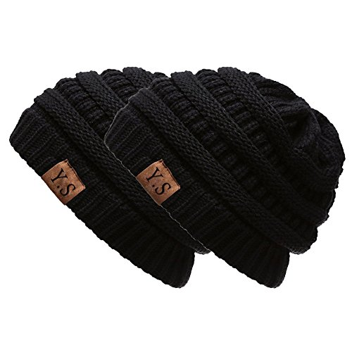 Trendy Slouchy Beanie Hat Unisex Soft Warm Oversized Chunky Cable Knit Thick Cap (2Pack - Cable Knit Hat Chunky