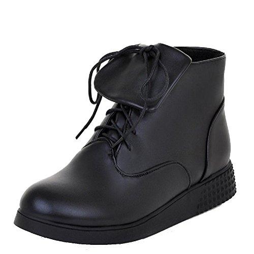AllhqFashion Womens PU Low-top Solid Lace-up Low-Heels Boots Black DOagX2xa