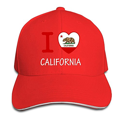 Unisex I Love California Adjustable Snapback Baseball Hat Red One Size