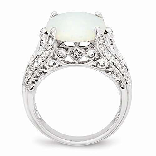 Buy cheryl m sterling silver synthetic opal & cz ring