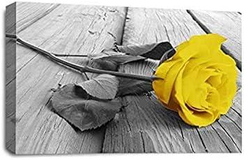 Cuadro en lienzo Rosa amarilla Arte de la pared Flor blanca y gris Floral Imagen en lienzo Impresión Decoración para el hogar moderna Obra 50x70cm (19.7x27.6 pulgadas) Con marco
