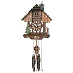 River City Clocks Chalet Style One Day Cuckoo Clock with Chimney Sweeper That Pops in and Out of The Chimney