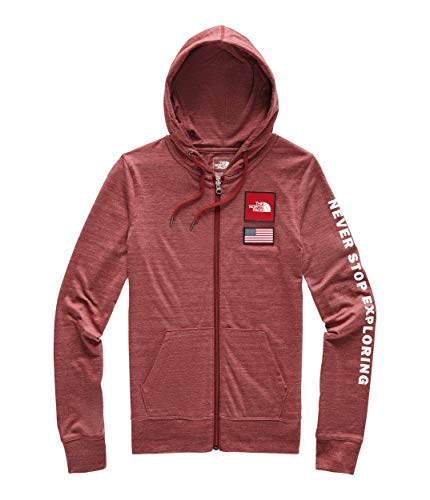 The North Face Women's Americana Tri-Blend Full-Zip Hoodie, Cardinal Red Heather, Size L