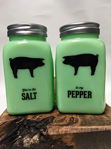 You're The Salt To My Pepper - Jadeite Glass Vintage Style Shaker Set - Pig -
