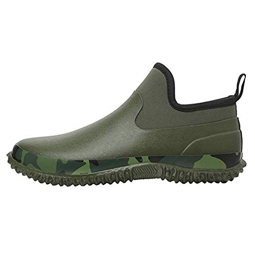 JOINFREE Unisex Rain Boots Garden Shoes Waterproof Warm Army Green 13 M US Women/11 M US Men