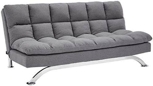 Sunrise Coast Geneva Faux-Leather Futon Couch with Stainless-Steel Legs, Charcoal Black