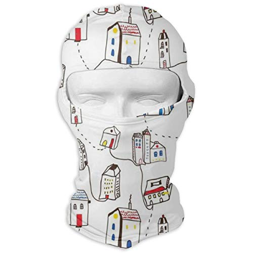 Xuforget Doodle Abstract Town with Many Houses and Line Roads Simple Men's & Female Balaclavas Full Face Mask Hood White