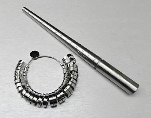 STEEL RING MANDREL & METAL FINGER GAUGE SET RING SIZER WIDE BAND GRADUATED 1-15 ( LZ 2.1 FRE ) NOVELTOOLS