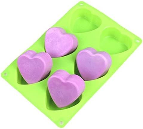 Valentines Day Holiday Hearts Shaped 2 Silicone Heart Soap Molds Homemade Soaps Cake Bath Bombs Random Colors Baking Bundle by Jolly Jon DIY Baked Party Gifts Supplies