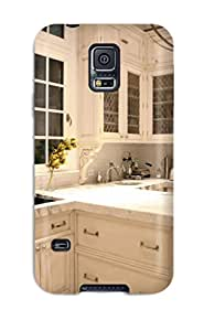 Hot XUZuyTv3006pbyPj Case Cover Protector For Galaxy S5- White Kitchen With Bar Seating And Hardwood Floors