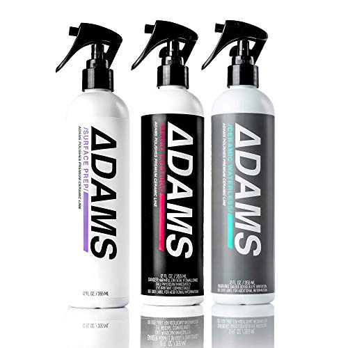 Adam's Ceramic Spray Coating & Waterless Wash Kit - Nano UV Beading Protection For Car, Boat & Motorcycle Paint - Top Coat Polish Sealant After Clay Bar, Polishing & Detail Car Wash (Three Bottle Kit)