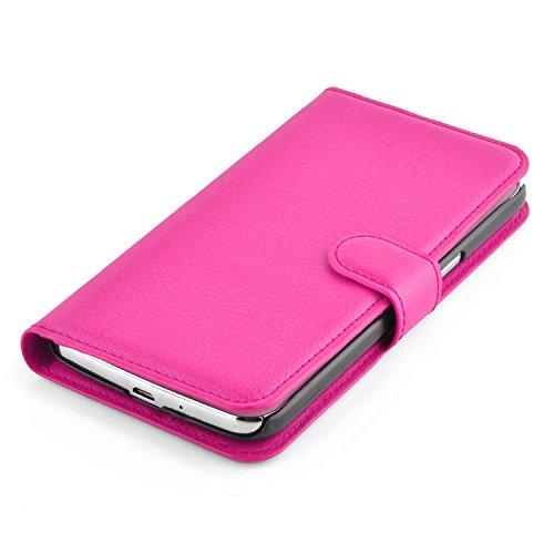 Cadorabo - Funda Samsung Galaxy GRAND 2 (G7100 / G7102) Book Style de Cuero Sintético en Diseño Libro - Etui Case Cover Carcasa Caja Protección (con función de suporte y tarjetero) en BLANCO-ÁRTICO ROSA-CEREZA