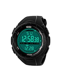 New SKMEI Men's Multifunctional Outdoor Sports Water Resistance Military LED Digital Watch Stopwatch Alarm Day Date Function black (Black)