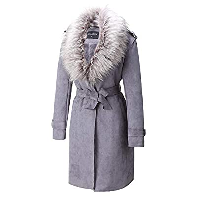 Bellivera Women's Faux Suede Long Jacket,Lapel Outwear Trench Coat Cardigan with Detachable Faux Fur Collar: Clothing