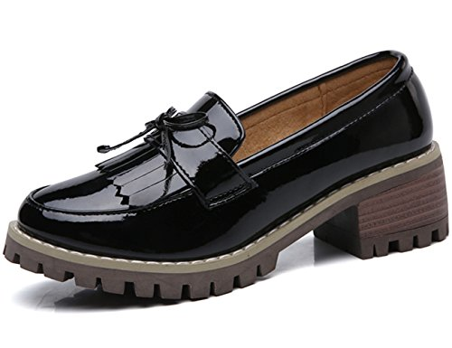 Square Shoes Oxfords Slip Tassel Platform Dadawen Mid Women's heel Toe Black on Dress Classic qvw67w8