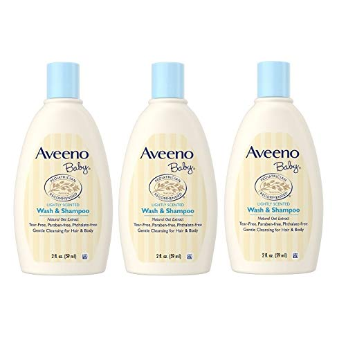 Aveeno Baby Wash & Shampoo, Tear Free, Travel Size 2 Oz (59ml) – Pack of 3