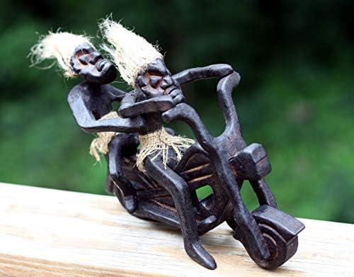 Single Primitive Tribal Statue Riding Harley Davidson Tiki Biker Gift Home Decor