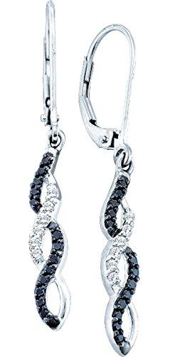 Infinity Diamond 14K White Gold Black Diamond Infinity Dangle Earrings 1/3 Ctw.