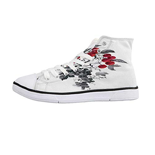 Rowan Stylish High Top Canvas Shoes,Rural Nature Inspired Artistic Foliage Composition Wild Berry Plant with Leaves for Men & Boys,US - Berry 963