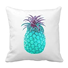 Teal Pineapple Cushion Cover Tropical Throw Pillow Cover Case 18 x 18 Square Canvas Decoratve Pillowcase