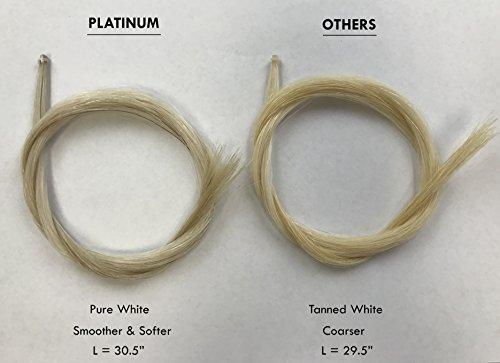 MI&VI Top-Grade Platinum Mongolian Horse Hair for Violin, Viola, Cello Bows - Unbleached, White 30.5'' (1 Hank, Prepared, Includes 2 Plugs and 1 Wedge) (Platinum - 1 Hank) by MI&VI (Image #1)
