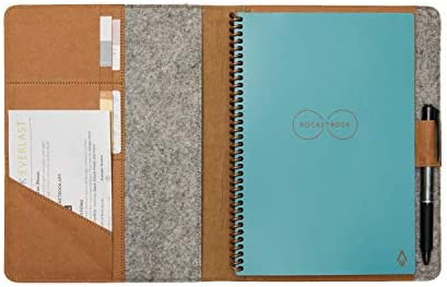 Moonsafari A4 Reusable Notebook Cover & Rocketbook Cover Smart Business Notebook Cover for Everlast, Fusion, Wave, Moleskin and More with Pen Loop & Business Card Holder – Brown,A4/Letter 11″ x 8