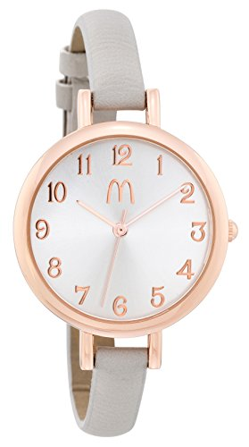 McDonald's Women's Classy Large Rose Gold-Tone Face Watch with Thin Grey Band MDW15501