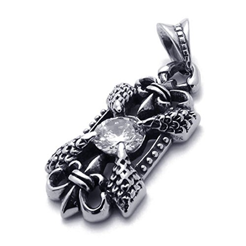 TEMEGO Jewelry Mens Cubic Zirconia Stainless Steel Vintage Pendant Gothic Cross Dragon Claw Necklace, Black Silver ()