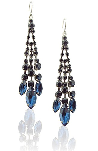 Zoe & Ella Montana Blue Rhinestone Crystal Silver Plated Triple Row Chandelier Earrings