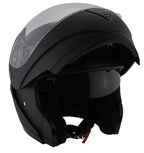 Milwaukee Performance DOT Approved Modular Full Face Racing Helmet w/ Sun Visor (Matte Black, X-Small) ()