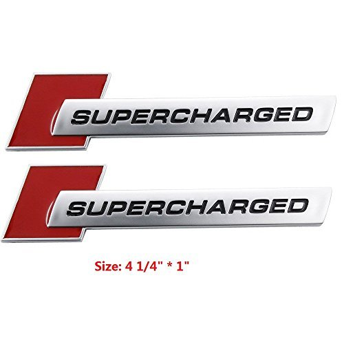 (Yoaoo-oem® 2pcs 3d OEM Supercharged Badge Emblem Stickers for Audi A3 A4 A5 A6 Q3 Q5 Q7 S4 S6 Tt)