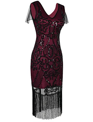 Burgundy Dress Flapper Dress PrettyGuide Great Gatsby Women's 1920s Sequin Cocktail 1wwHUq