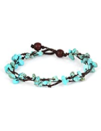 MGD, Blue Turquoise Color Bead Anklet. Beautiful 10 Inches Handmade Stone Anklet Made from wax cord. Fashion Jewelry for Women, Teens and Girls., JB-0123A