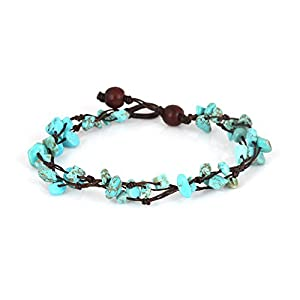 Mary Grace Design MGD, Blue Turquoise Color Bead Anklet. Beautiful 10 Inches Handmade Stone Anklet Made from Wax Cord…