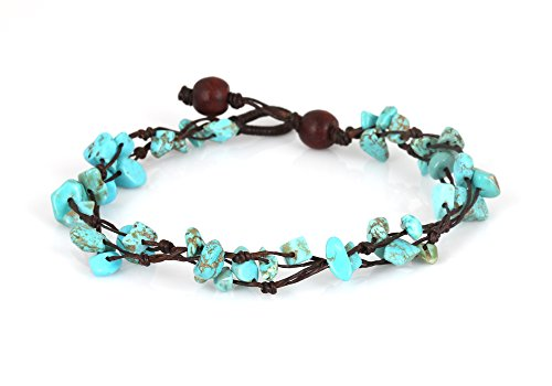 MGD, Blue Turquoise Color Bead Anklet. Beautiful 10 Inches Handmade Stone Anklet Made from wax cord. Fashion Jewelry for Women, Teens and Girls., JB-0…