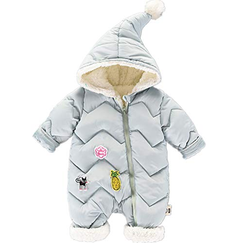 RACHAPE Unisex Baby Hooded Puffer Jacket Infant Jumpsuit Toddler Winter Snowsuit Hoodie Coat Rompers Blue