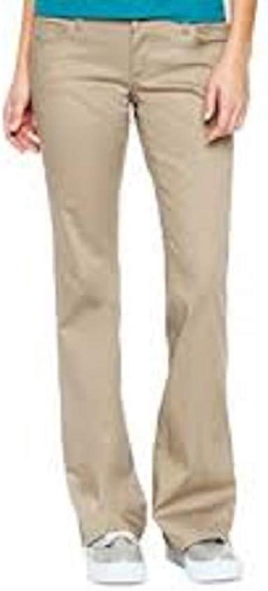 New Women/'s Juniors Dickies Stretch 5 Pocket Twill Pants Slim Boot Leg Khaki 0