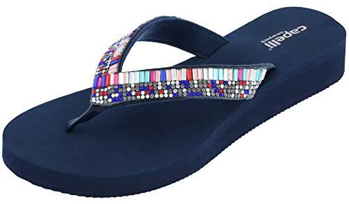 Embellishment Gem (Capelli New York Multi Gem Embellishment Ladies Flip Flop Navy 10)