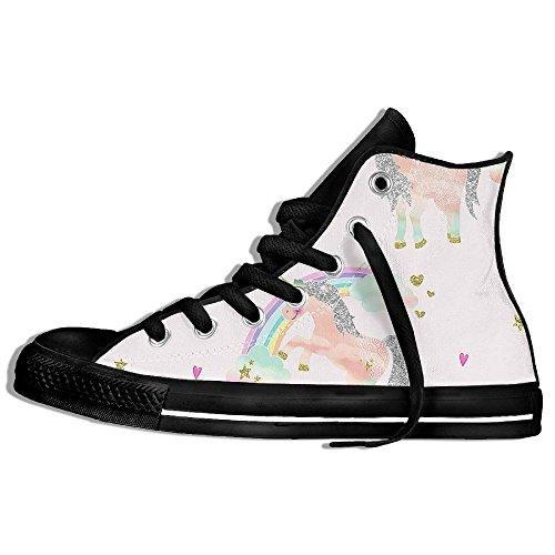 Classiche Sneakers Alte Scarpe Di Tela Anti-skid Unicorno Rosa Casual Da Passeggio Per Uomo Donna Nero