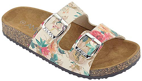 ANNA Footwear Women's Casual Buckle Straps Sandals Flip Flop Platform Footbed (8, Floral)