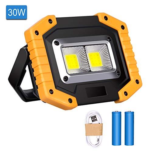 Luz de Trabajo LED Recargable, Luz de Inundación Portátil 30W USB, 3 Modos, Linterna al Aire Libre Impermeable para la…