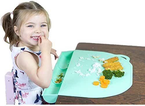 Food Catching Baby Placemat with Suction - UpwardBaby Silicone Placemats for Babies Kids and Toddlers - Clean Mealtimes at Home Or for Restaurants - See Video Demonstration