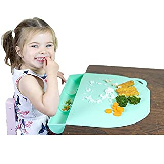 Food Catching Baby Placemat with Suction - UpwardBaby Mint Silicone Placemats for Kids Babies and Toddlers - Clean Mealtimes at Home Or for Restaurants - See Video Demonstration