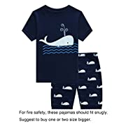 Choco Moon Baby Boys Whale Snug-Fit Pajamas Short Sets 100% Cotton Blue Pjs Clothes Kid 18-24 Months