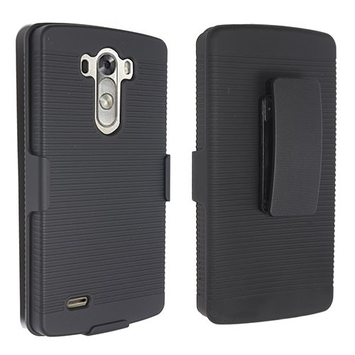 Decoro Brand Premium LG G3 Holster Combo - Rubberized Ribbed Texture Shell and Holster with Fixed Ratching Belt Clip - Black