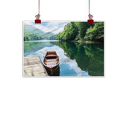 Anyangeight Wall Painting Prints Lake,Wooden Boat Biograd Pier 36