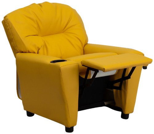 flash furniture contemporary yellow vinyl kids recliner with cup holder