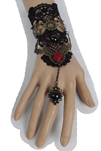 TFJ Women Fashion Jewelry Antique Gold Metal Hand Chain Wrist Bracelet Red Flower Slave Ring Black Lace Steampunk